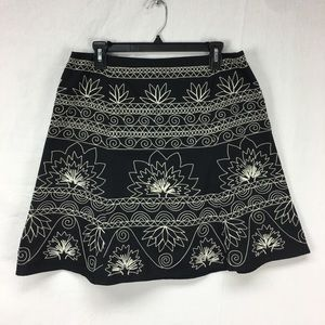 Talbots Black Embroidered A-Line Skirt